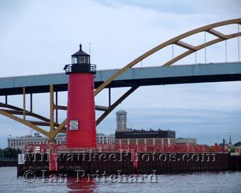 Photograph of Clock, Bridge and Lighthouse from www.MilwaukeePhotos.com (C) Ian Pritchard